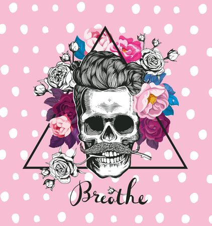 Fashion illustration depicting skull. Skull with the rose in his teeth. Trending floral background. Could be used for T-shirt print, cards, fashion banners. Illustration