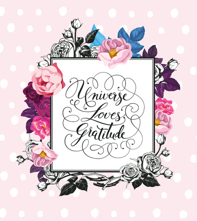 affirmation: Vintage Baroque Greeting Card with Blooming Roses. Thank You card with Place for Your Text.
