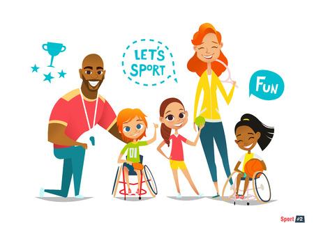 스포츠 가족. 장애인 휠체어에 공을 가지고 노는 그들의 친구와 함께 재미. 일러스트