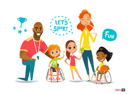 Sports family. Handicapped Kids in wheelchairs playing ball and have fun with their friend. Illustration