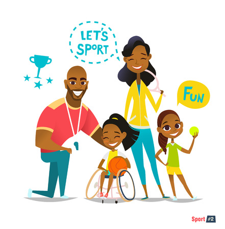 Sports family portrait. Handicapped Kid in wheelchairs playing ball and have fun. Coaching young sportsmens. Medical rehabilitation concept.