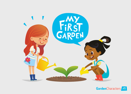 My first garden concept. Cute kids care for plants in the garden. Early education, outdoor activities. Minressiri gardening. Vectores