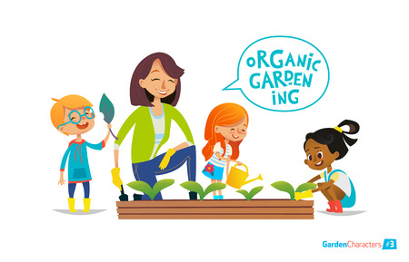 Cute girls and boys help their teacher to care for plants. Teacher and kids engaged in gardening in the backyard. Girl watering flowers in the garden. Eco concept. Montessori education concept. Organic gardening. Stock Illustratie