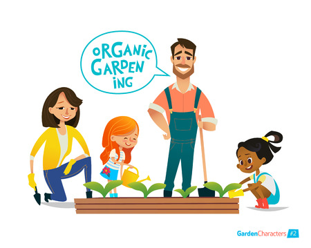 Very positive smiling kids help parents using the watering can water flowers in the garden. Eco concept. Montessori education concept. Organic gardening.