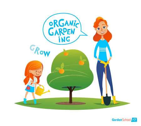 planting tree: Planting tree with kids. Eco concept. Engaging in Montessori education activities. Organic gardening. Vegan garden. Vector illustration Illustration