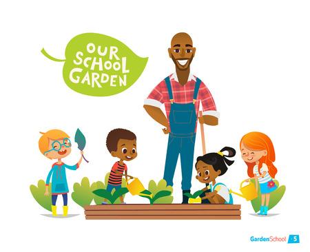 Maestro y los niños dedican un huerto en el patio trasero. Chica regando flores en el jardín. el concepto de eco. concepto de la educación Montessori. jardinería orgánica. Ilustración de vector