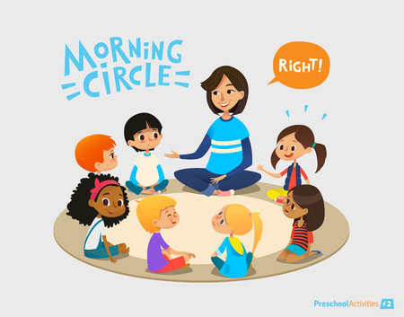 Smiling kindergarten teacher talks to children sitting in circle and asks them questions. Preschool activities and early childhood education concept. Vector illustration for poster, website banner. Stock Illustratie