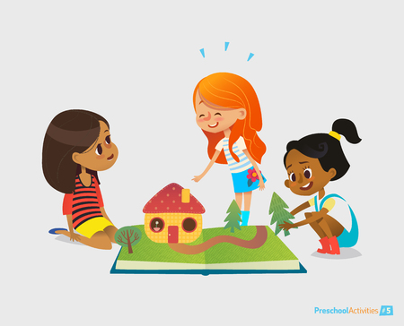 Three young smiling girls sit on floor, talk and play with pop-up book. Childrens entertainment and preschool educational activity concept. Vector illustration for website banner, advertisement.
