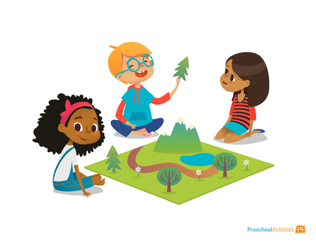 Children sitting on floor explore toy landscape, mountains, plants and trees. Playing and educational activity in kindergarten. Preschool environmental education concept. Cartoon vector illustration. Иллюстрация