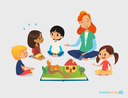 leccion: maestra le dice a los cuentos de hadas que usan libro pop-up, los niños se sientan en el suelo en círculo y escuchan a ella. Las actividades preescolares y la educación infantil. Ilustración del vector para el cartel, sitio web.