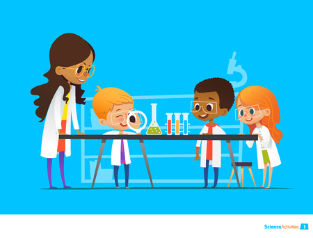 Female teacher demonstrates plant in flask, kids look through magnifier at it during botany lesson. Preschool educational activities and natural sciences education. Vector illustration for website. 일러스트
