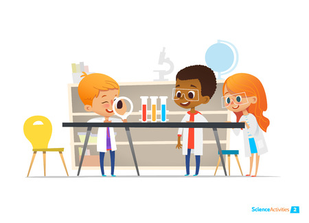 School children in lab clothing and safety glasses conduct scientific experiment with chemicals in chemistry laboratory. Educational science activities for kids. Vector illustration for website, ad.
