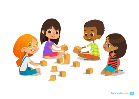 Laughing and smiling kids sit on floor in circle, play with toy cubes and talk. Childrens entertainment, preschool and kindergarten activity concept. Vector illustration for website, banner, poster.