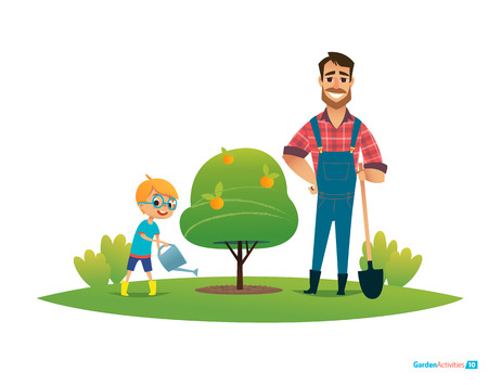Cartoon characters, smiling father and son in rubber boots and with gardening tools plant apple tree in garden. Parental education and involvement concept. Vector illustration for poster, banner, ad. Illustration