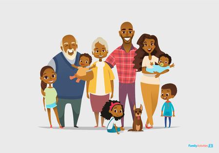 retrato de familia feliz grande. Tres generaciones - abuelos, padres y niños de diferentes edades juntos. Personajes de dibujos animados sonriendo. Ilustración del vector para el cartel, tarjeta de felicitación, página web, anuncio.