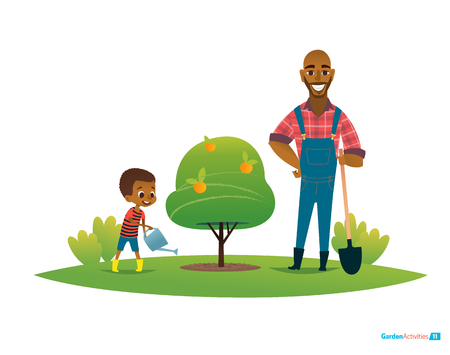 Dad and son in fruit garden, boy in gumboots water apple tree with watering can and father stand by with shovel. Childrens environmental education concept. Vector illustration for poster, website.