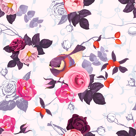 Seamless pattern with colorfull bunches of roses and cute little bird on background. Vector illustration in retro style for wallpaper, textile print, wrapping paper