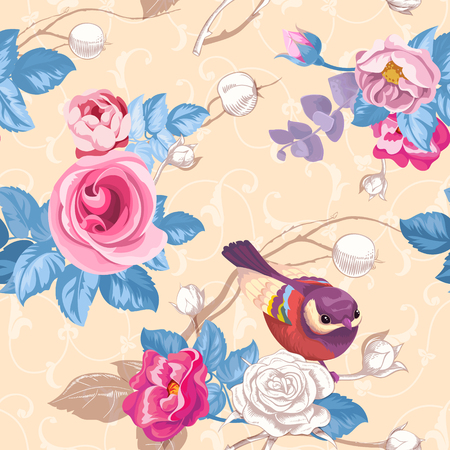 Floral seamless pattern with colorfull bunches of roses and cute blue bird on background. Vector illustration in retro style for wallpaper, textile print, wrapping paper Banco de Imagens