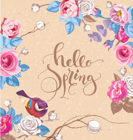 Greeting card with elegant hand written lettering Hello Spring. Cute little bird, and roses on background. Vector illustration in romantic style for cards, banners, posters, invitations,