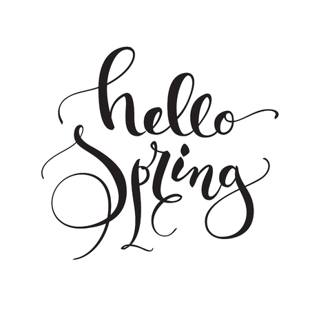 Hello Spring greeting card design with simple stylish flowing decorative text on a white framed certificate hanging on a textured brick wall, vector illustration