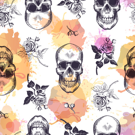 Seamless pattern with human skulls and roses drawn in etching style and translucent orange and pink stains. Creative kitschy backdrop. Vector illustration for wallpaper, wrapping paper, textile print. Ilustração