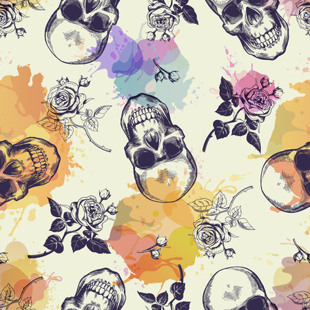 Seamless pattern with skulls and rose flowers drawn in engraving style and translucent colorful blots. Modern and trendy backdrop. Vector illustration for wallpaper, fabric print, poster, flyer.