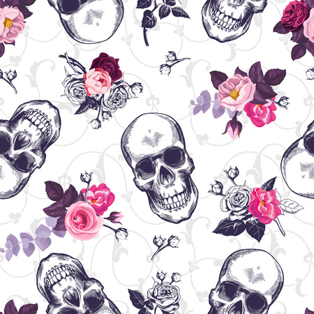 vintage: Seamless pattern with human skulls and half colored bunches of flowers in woodcut style and baroque ornament on background. Vintage backdrop. Vector illustration for wallpaper, textile print, poster.