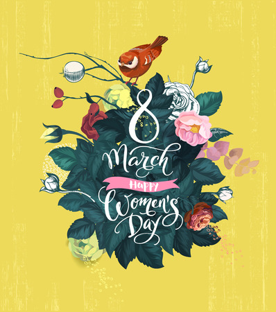 8 March, Happy Womens Day. Handwritten lettering, bush with thick green foliage, multicolored rose flowers and small birdie against yellow background. Beautiful greeting card. Vector illustration.