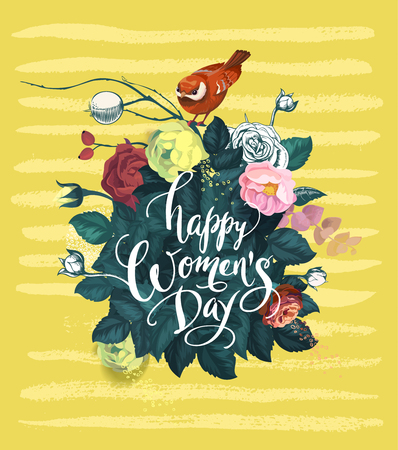 Happy Womens Day hand lettering against background with bouquet of semi-colored rose flowers, red bird sitting on top of it and yellow smears. Spring holiday. Vector illustration in retro style. Illustration