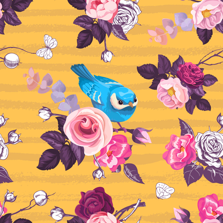Beautiful seamless pattern with pink roses and small blue bird in orange background with horizontal grungy stripes. Illustration