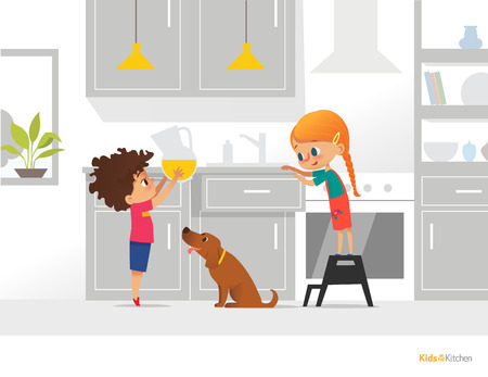Two kids cooking their own breakfast. Boy holding pitcher with orange juice, girl opening kitchen box and funny dog. Independent children concept. Vector illustration for flyer, banner, postcard.
