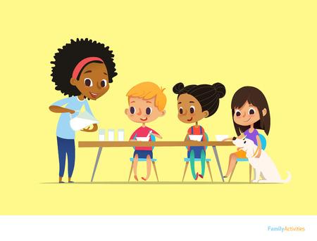Les enfants multiraciaux souriants s'asseoir à table et prendre le petit-déjeuner tandis que la mère verse du lait dans les gaz. Les enfants mangent un repas sain du matin. Concept d'activité familiale quotidienne. Illustration vectorielle pour flyer, poster. Banque d'images - 73856840