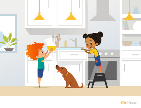 Children cooking food in kitchen. Red head boy holding pitcher with drink, girl in apron standing by stove and cute pet dog. Home alone concept. Vector illustration for poster, website, postcard.