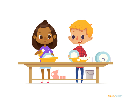 Two happy multiracial kids washing dishes isolated on white background. Children cleaning tableware. Montessori engaging educational activities concept. Vector illustration for flyer, banner, poster. Çizim