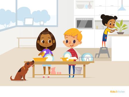 Sonriendo a los niños haciendo la rutina diaria en la cocina. Dos niños que lavan platos con espuma de jabón, perro divertido y una niña que cuidan la planta en el fondo. Limpiar el concepto Ilustración del vector para el aviador, cartel. Foto de archivo - 73864688