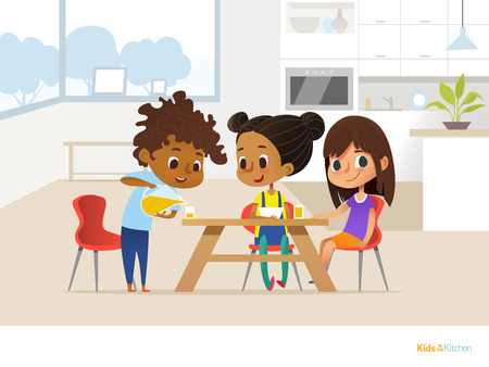 Multiracial children preparing lunch by themselves and eating. Two girls sitting at table and boy pouring orange juice into glass. Kids in dining room concept. Vector illustration for banner, website. 向量圖像