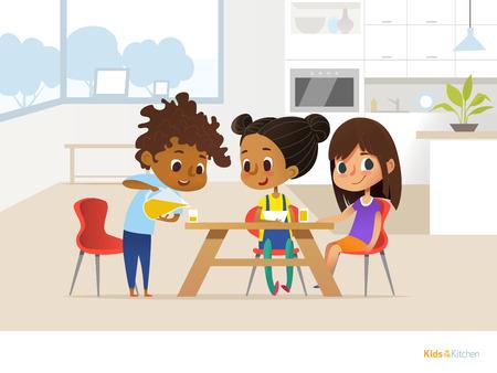 Multiraciale kinderen bereiden de lunch alleen en eten. Twee meisjes zitten aan tafel en jongen gieten sinaasappelsap in glas. Kinderen in de eetkamer concept. Vectorillustratie voor banner, website.