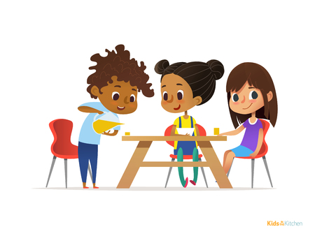 Happy kids having breakfast by themselves. Two girls eating morning meals at table and boy pouring drink into glass. Child nutrition concept. Vector illustration for banner, poster, website, flyer.