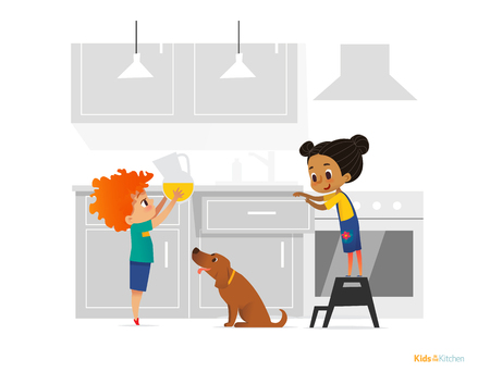 Two kids cooking morning breakfast in kitchen. Girl in apron standing on stool, boy putting pitcher with juice on table and dog. Obedient children concept. Vector illustration for banner, website.