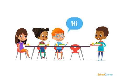 Multiracial kids sitting at table in school canteen and greeting newcomer boy. Stock Illustratie