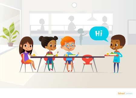 New pupil carrying tray of food and greeting classmates sitting at table in canteen. Children having lunch. Making school friends concept. Vector illustration for banner, website, poster, flyer. Vectores