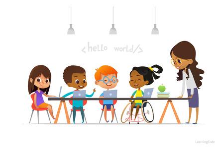 Chica discapacitada en silla de ruedas y otros niños sentados en las computadoras portátiles y la codificación de aprendizaje. Ilustración de vector