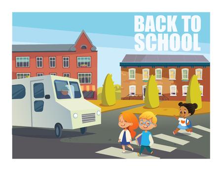 バスの前の通りを横断する子供たちを笑っています。幸せな子供の背景に建物に対して歩行者横断歩道の上を歩きます。