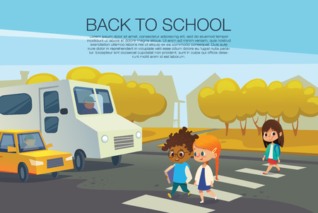 Multiracial kids walking across pedestrian crossing in front of stopped cars against autumn trees on background. Road safety rules for school children concept. Illustration