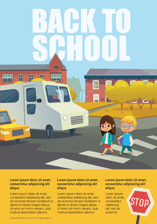 Pair of cheerful school kids walking across zebra crossing in front of stopped cars against trees and buildings on background. Educational poster with traffic sign and text box.