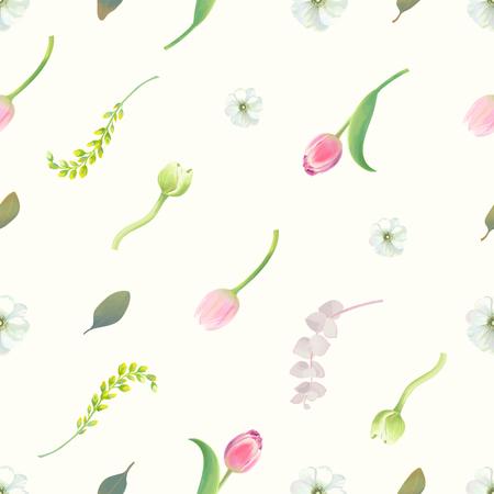 Schitterend naadloos patroon met bloemenelementen, bloemknoppen, bloeiwijzen en groene bladeren tegen witte achtergrond. Eindeloze botanische achtergrond. Vectorillustratie in retro stijl voor stoffenprint. Stock Illustratie