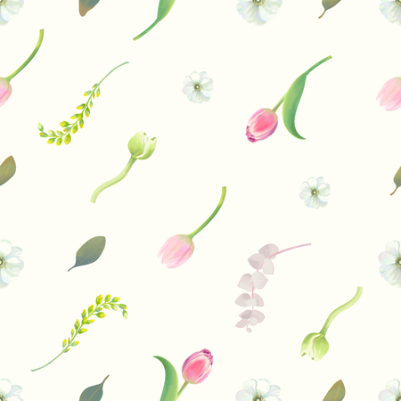 Gorgeous seamless pattern with floral elements, flower buds, inflorescences and green leaves against white background. Endless botanical backdrop. Vector illustration in retro style for fabric print.