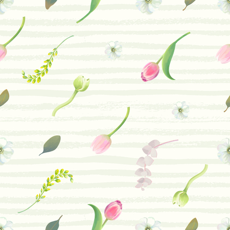 Floral seamless pattern with pink tulips, flower buds, inflorescences and leaves against pale green paint stripes on background. Summer garden backdrop. Vector illustration for wrapping paper. Illustration