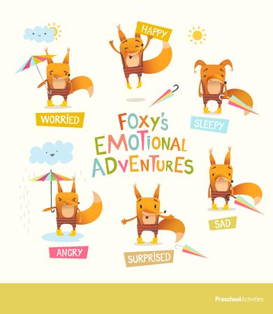 フォクシーの感情的な冒険。かわいい漫画フォックス ストライプ パンツ様々 な感情を表現します。正と負の感情の概念を処理します。ベクトル教