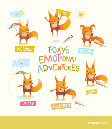 Foxy s emotional adventures. Cute cartoon fox in stripe pants expressing different feelings. Handling positive and negative emotions concept. Vector illustration for educational banner, postcard.